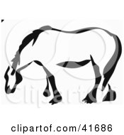 Black And White Paintbrush Stroke Styled Draft Horse