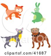 Clipart Illustration Of A Cat Rabbit And Dogs by Prawny