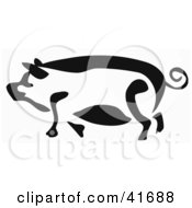 Black And White Paintbrush Stroke Styled Pig