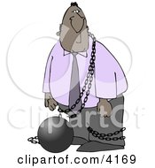 Illegal Immigrant Restrained With A Ball And Chain Clipart by Dennis Cox