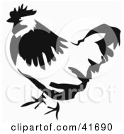 Black And White Paintbrush Stroke Styled Chicken