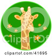 Clipart Illustration Of A Curious Giraffe Head Over A Blue Floral Circle by Prawny