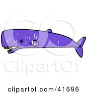 Clipart Illustration Of A Sketched Purple Sperm Whale by Prawny