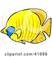 Clipart Illustration Of A Sketched Golden Butterfly Fish
