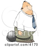 Convicted White Businessman Wearing A Ball And Chain Clipart