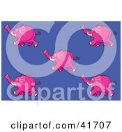 Clipart Illustration Of Five Pink Running Elephants On A Purple Background by Prawny
