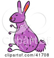 Clipart Illustration Of A Sketched Purple Bunny by Prawny
