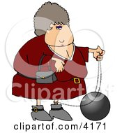 Female Criminal Wearing A Ball And Chain Clipart