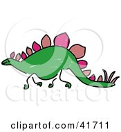 Clipart Illustration Of A Sketched Stegosaurus by Prawny