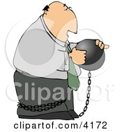 Businessman Criminal Wearing A Ball And Chain Clipart