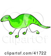 Clipart Illustration Of A Sketched Iguanodon by Prawny