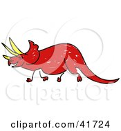Clipart Illustration Of A Sketched Red Triceratops