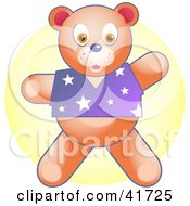Clipart Illustration Of A Stuffed Teddy Bear In A Purple Shirt by Prawny