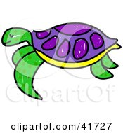 Sketched Green And Purple Sea Turtle