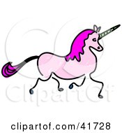 Clipart Illustration Of A Sketched Pink Unicorn