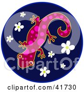 Clipart Illustration Of A Red And Pink Spotted Gecko On A Blue Flower Circle