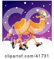 Clipart Illustration Of A Christmas Camel Wearing A Santa Hat And Walking In The Snow by Prawny