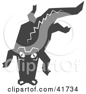 Clipart Illustration Of A Black And White Alligator