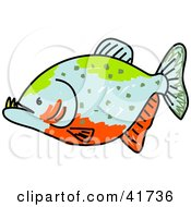 Clipart Illustration Of A Green Blue And Orange Piranha Fish by Prawny