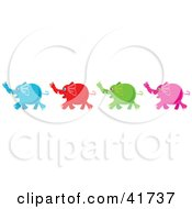 Clipart Illustration Of Four Diverse Blue Red Green And Pink Elephants by Prawny