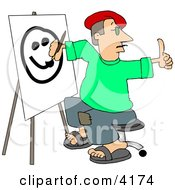 Male Artist Drawing A Smiley Face On Canvas With A Paintbrush Clipart by djart