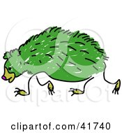 Clipart Illustration Of A Sketched Green Sloth Bear
