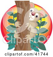 Clipart Illustration Of A Happy Koala In A Tree Against The Sunset