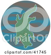 Clipart Illustration Of A Swimming Green Gator