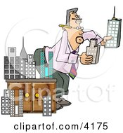 Male Architect Putting A Model City Together Clipart by Dennis Cox