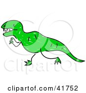 Clipart Illustration Of A Sketched Green Tyrannosaurus Rex