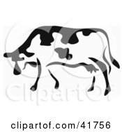 Clipart Illustration Of A Black And White Paintbrush Stroke Styled Cow by Prawny #COLLC41756-0089