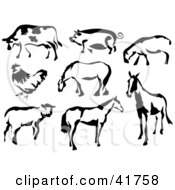 Black And White Cow Pig Sheep Chicken And Horses In Paintbrush Stroke Style