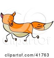 Clipart Illustration Of A Sketched Orange Fox