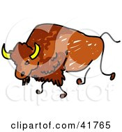 Clipart Illustration Of A Sketched Buffalo