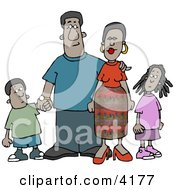 African American Family Standing Together As A Group Clipart