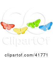 Clipart Illustration Of Four Diverse Red Yellow Green And Blue Butterflies by Prawny