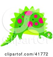 Clipart Illustration Of A Green Dinosaur With Pink Spot Patterns by Prawny