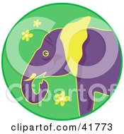 Clipart Illustration Of A Purple And Yellow Elephant Over A Green Circle With Yellow Flowers by Prawny
