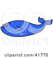 Clipart Illustration Of A Blue Sketched Whale