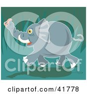 Clipart Illustration Of A Happy Running Elephant In A Jungle by Prawny
