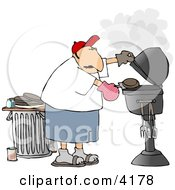 Man Putting A Hamburger On A Barbecue BBQ Grill Clipart by Dennis Cox