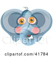 Clipart Illustration Of A Curious Elephant Face by Prawny