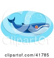 Clipart Illustration Of A Big Blue Whale With Bubbles In Blue Water by Prawny