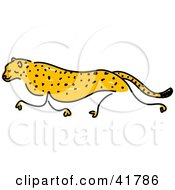 Clipart Illustration Of A Sketched Cheetah Running