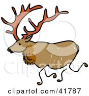 Clipart Illustration Of A Sketched Elk