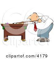 Businessman Playing A Game Of Pool
