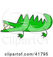 Clipart Illustration Of A Sketched Green Crocodile