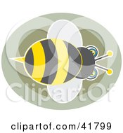 Clipart Illustration Of A Bumble Bee Over Brown Circles by Prawny