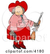 Cowgirl Holding A Rifle And A Pistol At A Firearm Target Practice Area Clipart