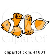 Clipart Illustration Of A Sketched Clown Fish